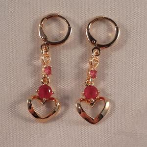 18k Gold Red Topaz Zircon Love Heart Earrings GF